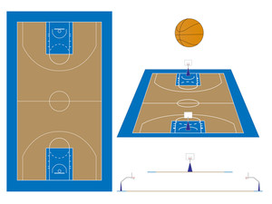 300x225 Basketball Court With Players Practicing Royalty Free Stock Image