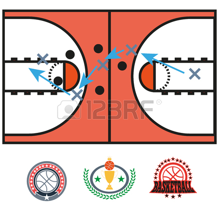 450x450 Basketball Game Strategy Drawing. Sports Tactics Illustration