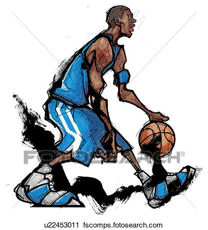 425x470 Clipart Of Basketball Player Dribbling Ball U22453011