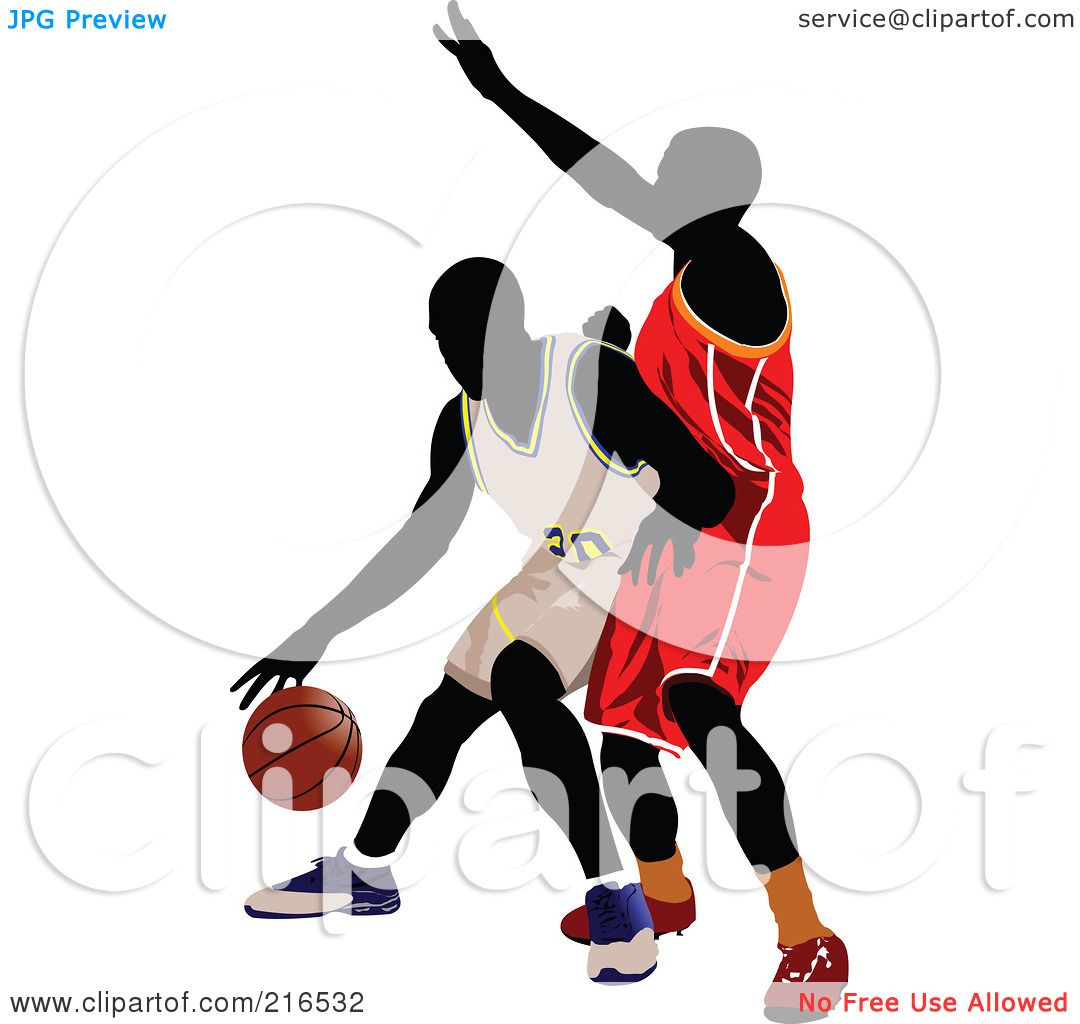 1080x1024 Royalty Free (Rf) Clipart Illustration Of Two Basketball Players