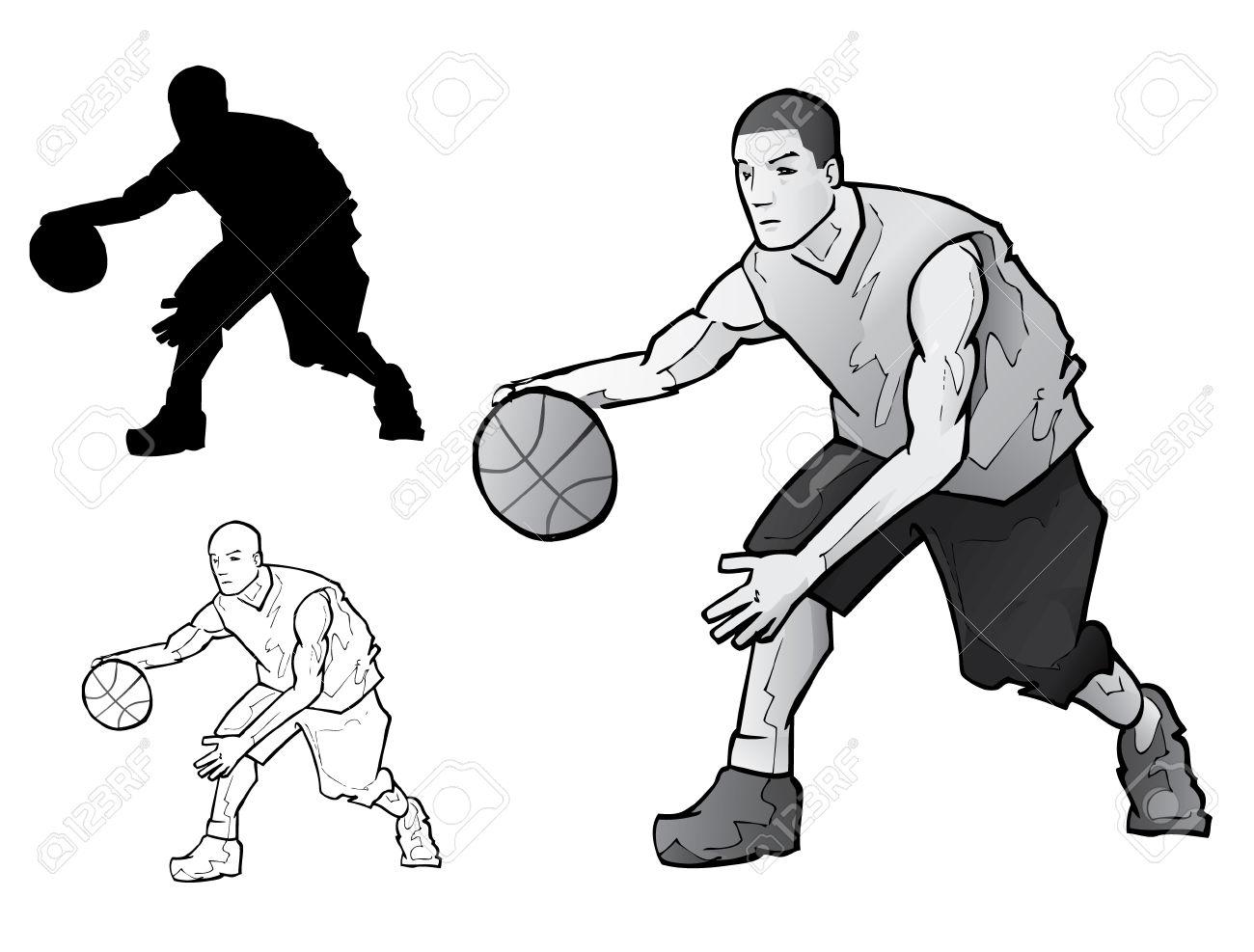 1300x987 7558888 Basketball Player Dribbling Stock Vector Silhouette