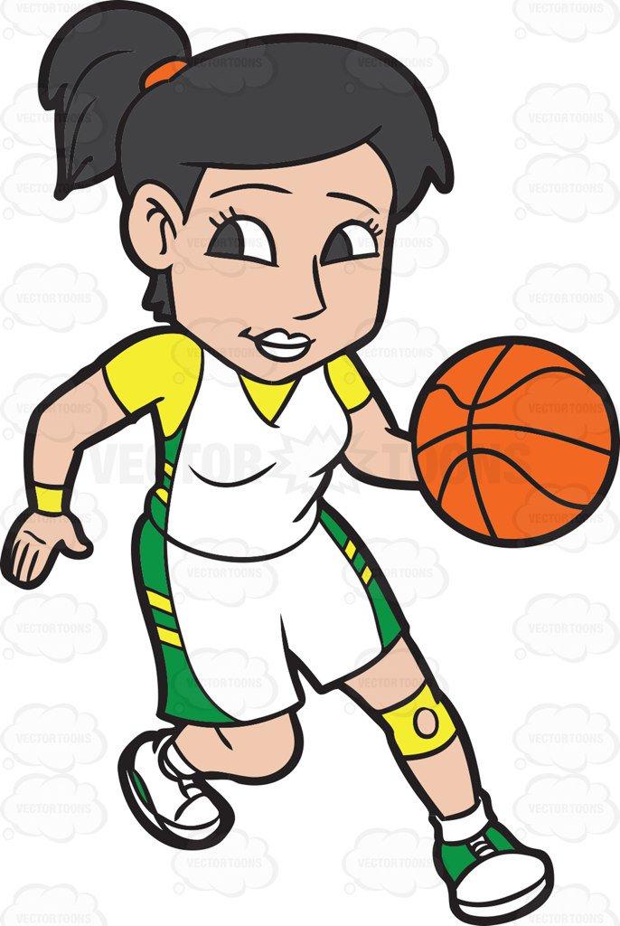 686x1024 A Female Basketball Player Practicing Her Moves Before A Game