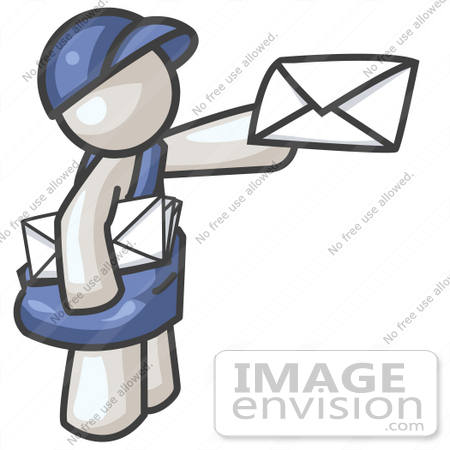 450x450 Clip Art Graphic Of A White Guy Character Delivering Mail