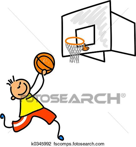 436x470 Clip Art Of Basketball Kid K0345992