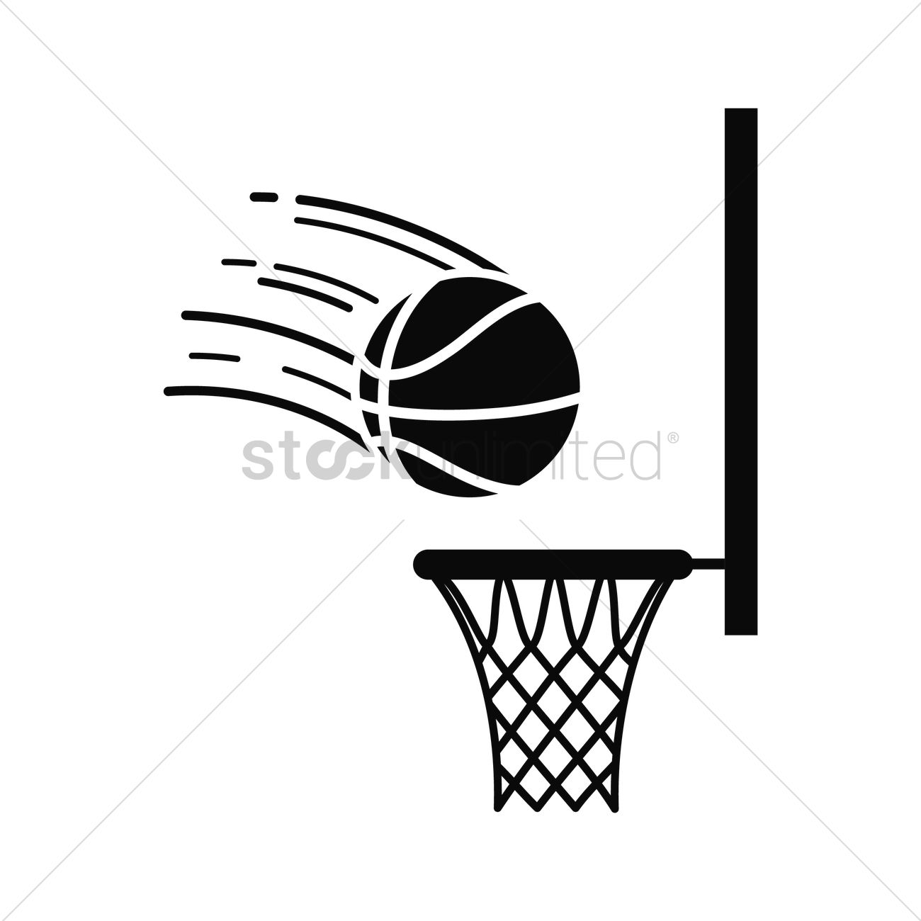1300x1300 Basketball Going Into Hoop Vector Image