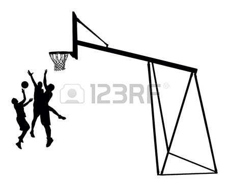 450x368 Basketball Players Black Silhouette Vector Illustration Isolated
