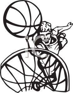 234x300 Black And White Cartoon Of A Basketball Player Making A Basket