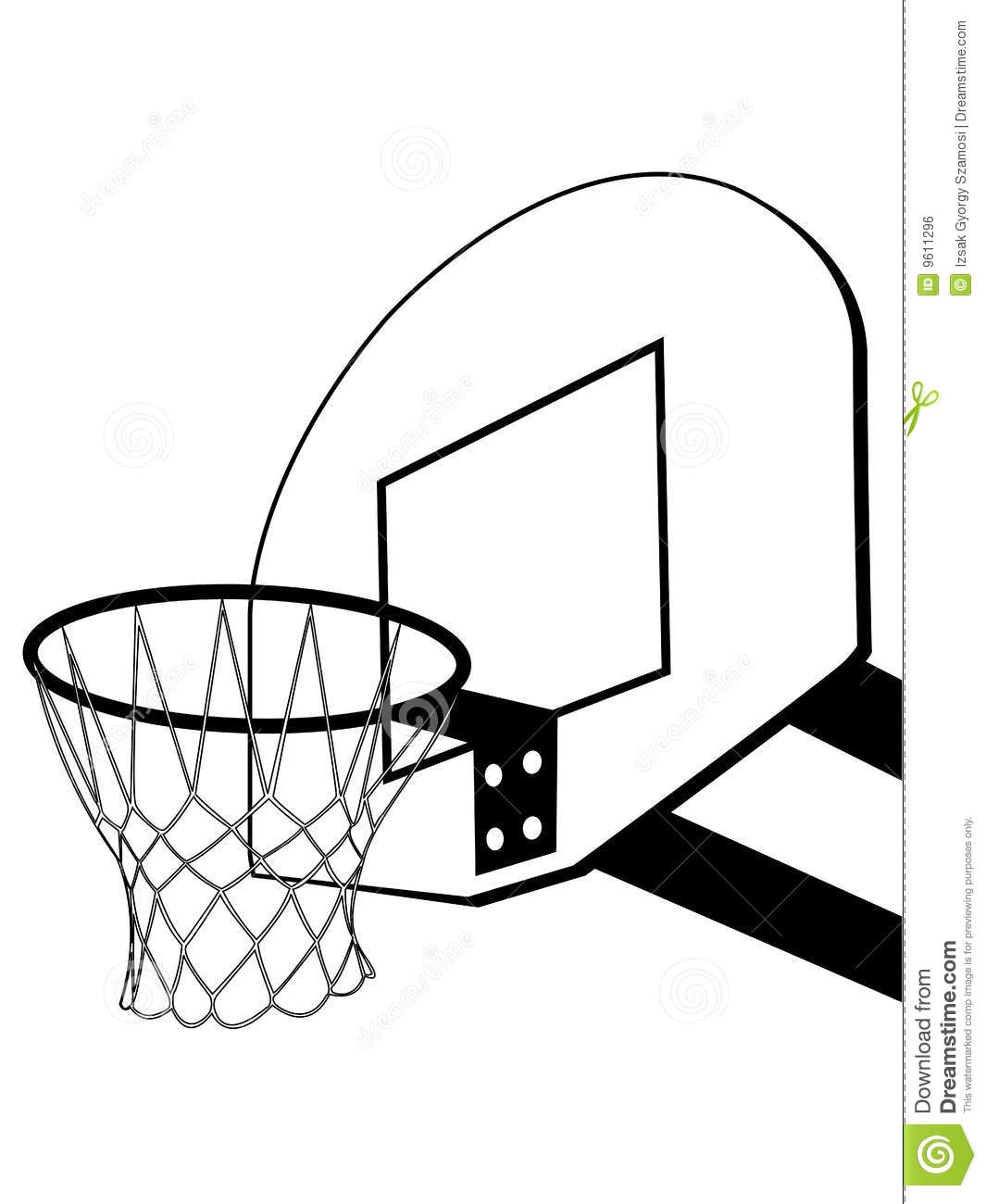 1065x1300 Basketball Hoop Side View Clipart