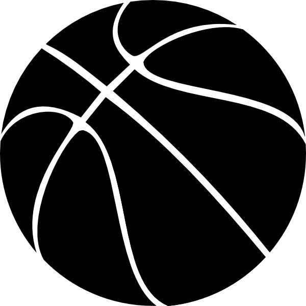 600x599 Basketball Clipart Black White