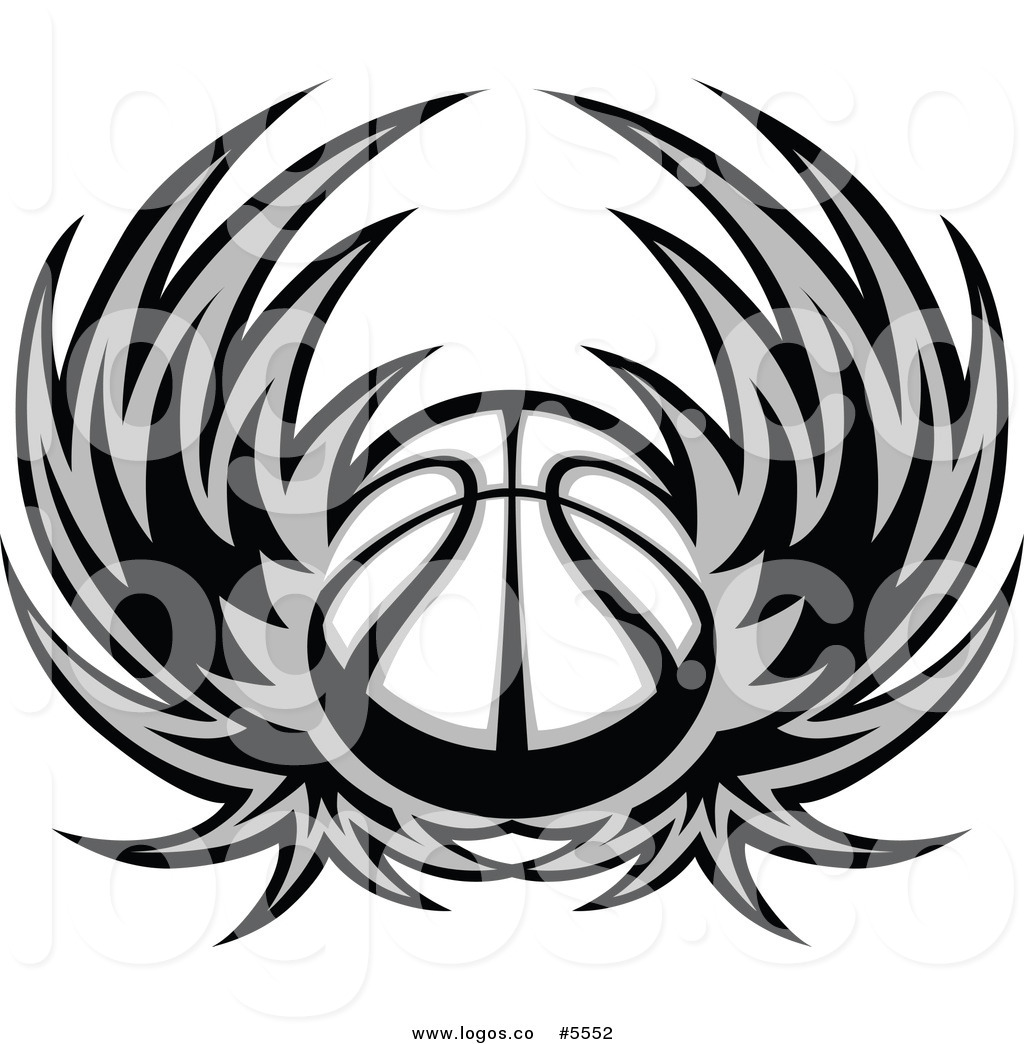 1024x1044 Royalty Free Vector Of A Logo Of A Grayscale Basketball With Wings