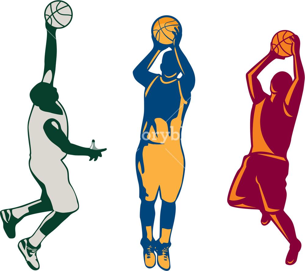 1000x887 Basketball Player Rebounding Ball Retro Royalty Free Stock Image