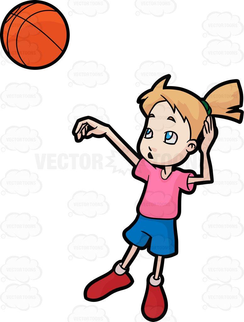 777x1024 A Girl Playing Basketball Cartoon Clipart
