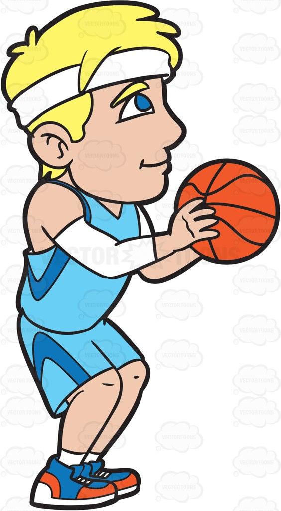 564x1024 A Male Basketball Player Shooting A Free Throw Cartoon Clipart