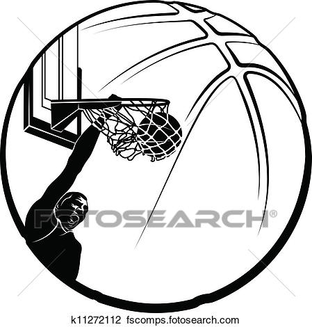 449x470 Clipart Of Basketball Dunk Silhouette K11272112