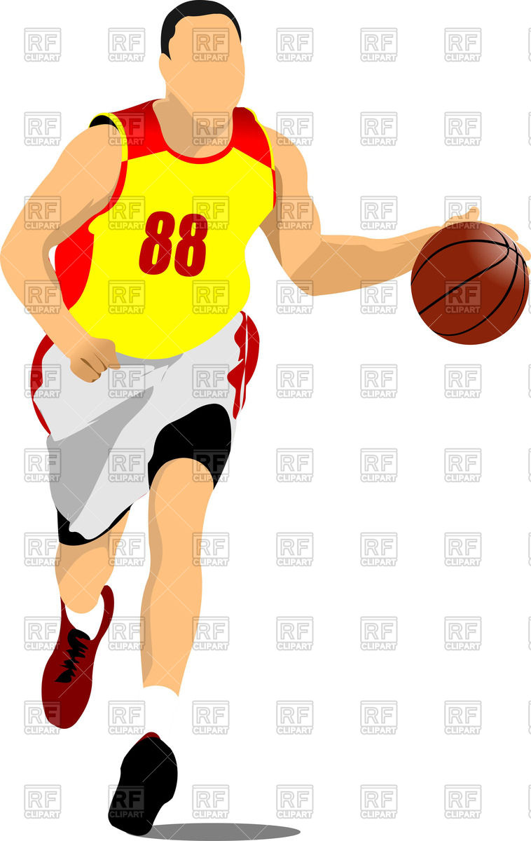 758x1200 Silhouette Of Running Basketball Players With Ball Royalty Free