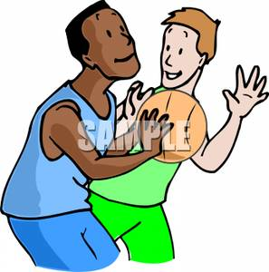 297x300 White And Black Boy Playing Basketball Clip Art Image