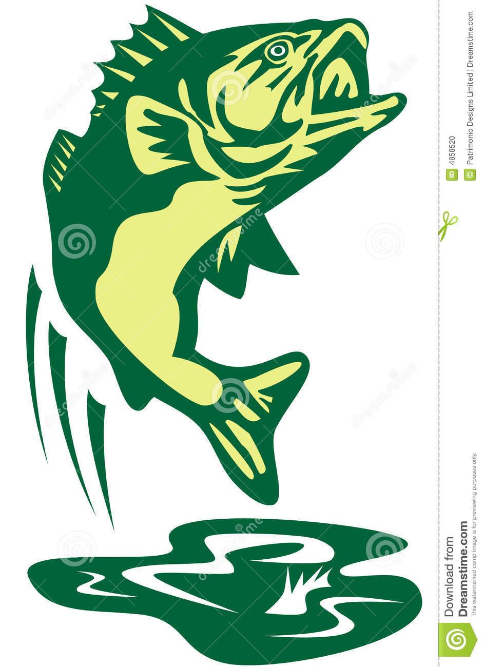 943x1300 Bass Fishing Clipart