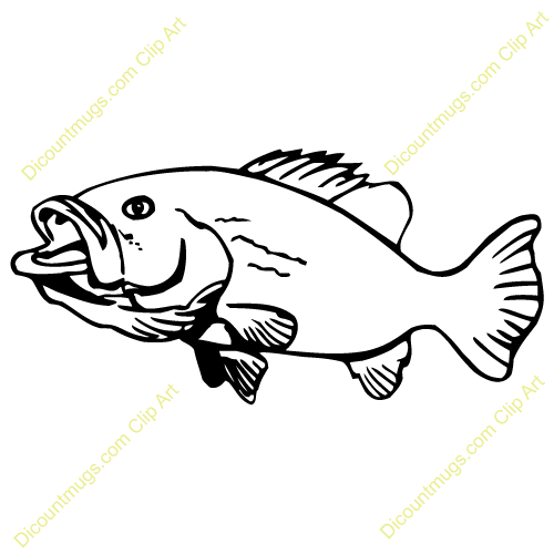 Bass Fish Clipart Black And White
