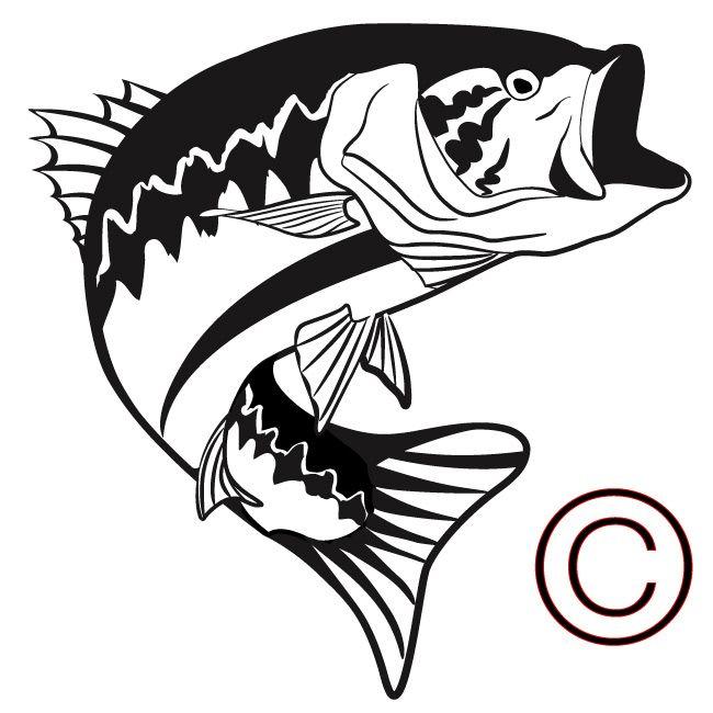 Fish outline silhouette. Bass free download best