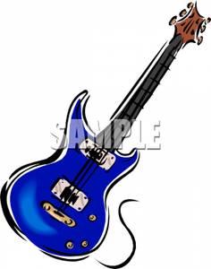236x300 Blue Bass Guitar Clipart Image