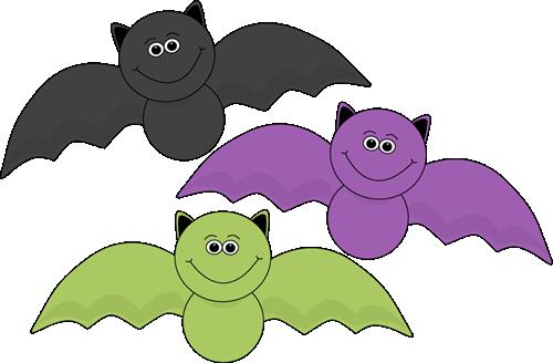 500x328 Colorful Halloween Bats Clip Art Image