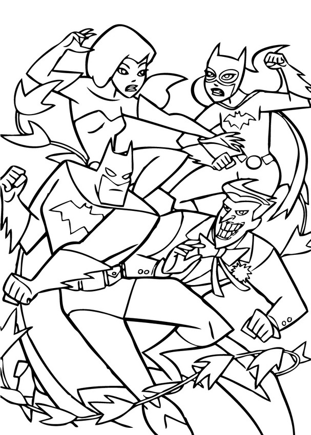 607x850 Batman Fighting With Enemis Coloring Pages