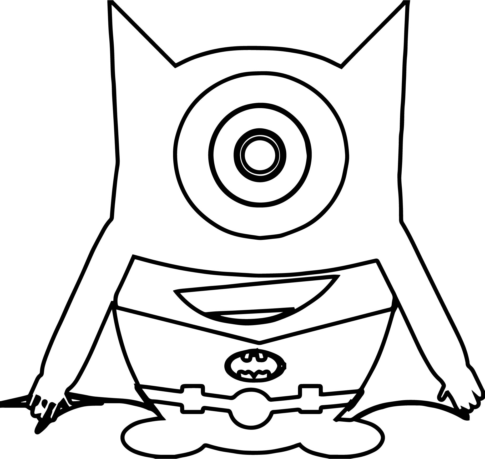 1844x1745 Batman Minion Outline Coloring Page Wecoloringpage