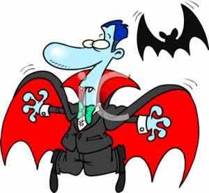300x278 Clipart Picture Of A Comical Dracula With A Bat Cartoon