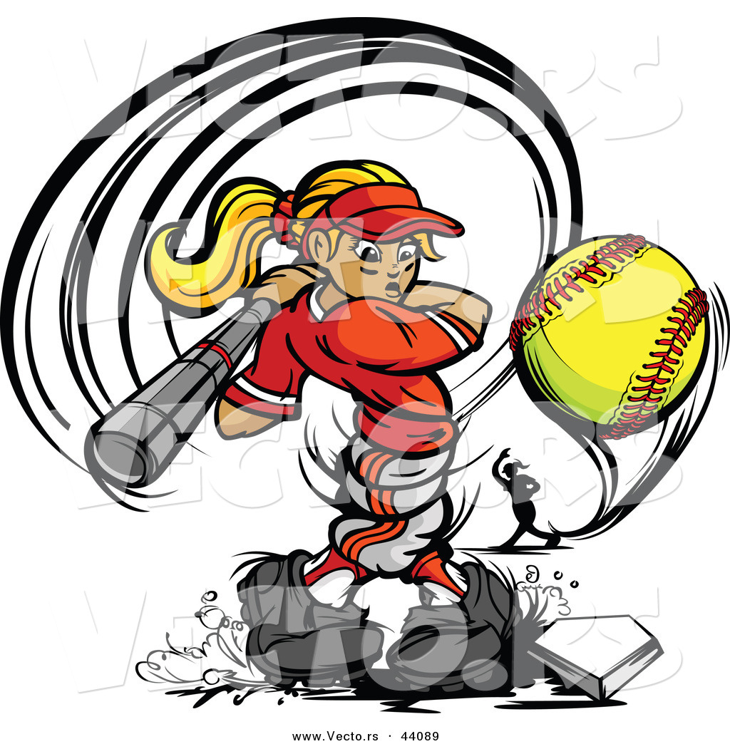 1024x1044 Vector Of A Competitive Cartoon Female Baseball Player Swinging