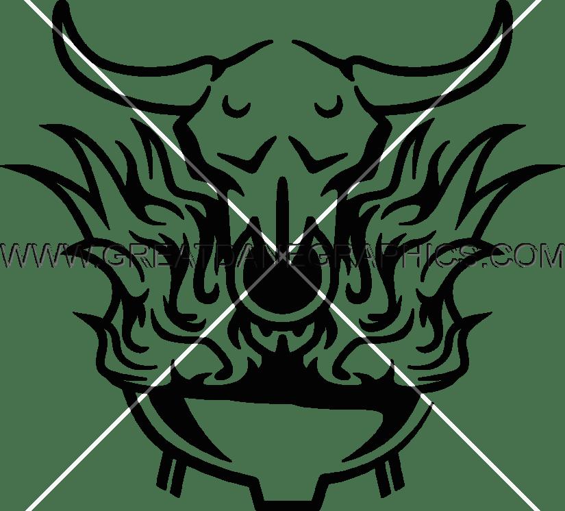 825x746 Flaming Skull Bbq Production Ready Artwork For T Shirt Printing