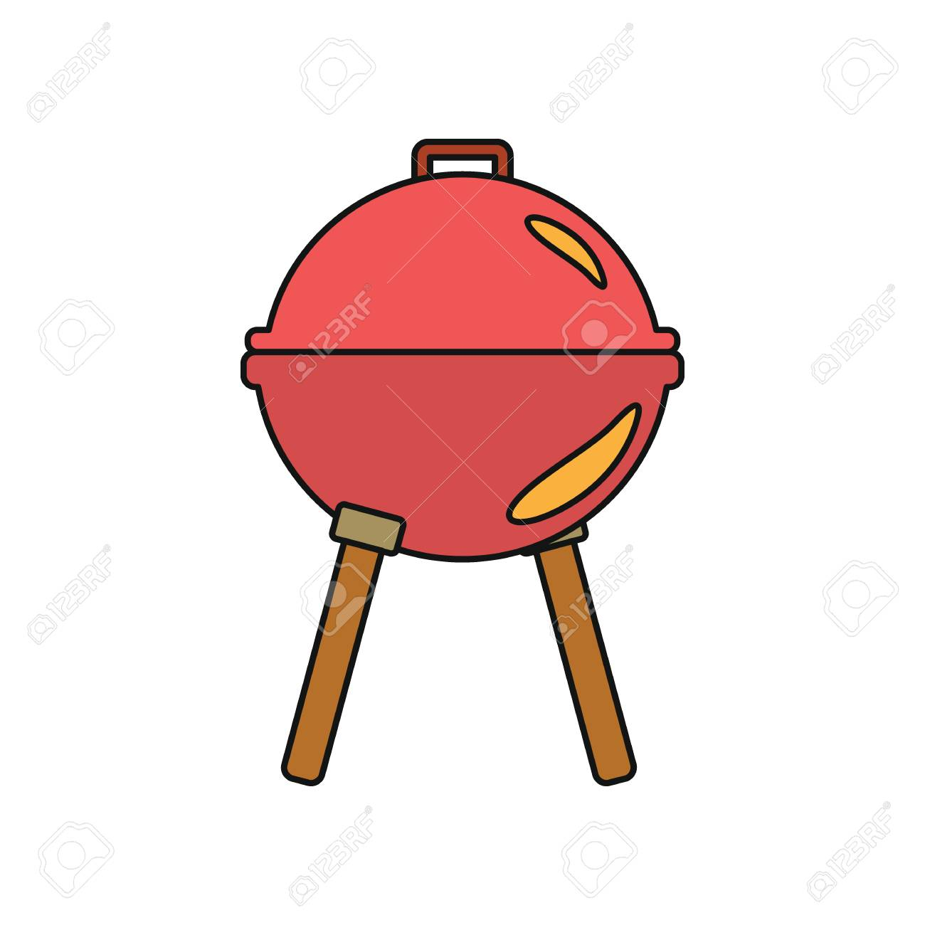 1300x1300 Metal Grill Barbecue Cartoon Icon. Vector Illustration Of Grill