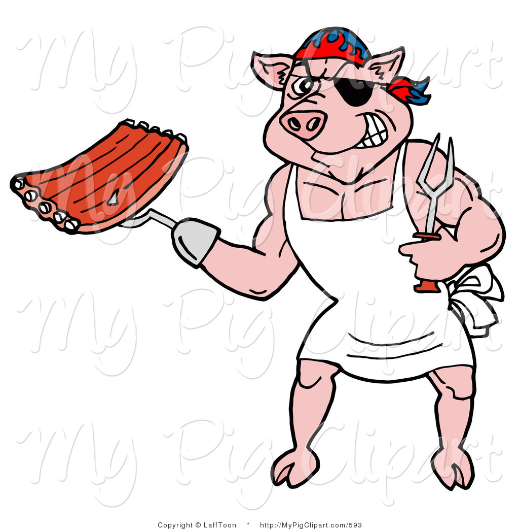 1024x1044 Vector Swine Clipart Of A Bbq Pirate Pig Holding Ribs By Lafftoon