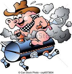 236x243 Cartoon Pig Chef With Hot Bbq Ribs. Lafftoon Bbq