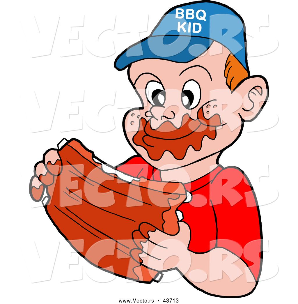 1024x1044 Vector Of A Happy Cartoon Boy Eating Tasty Bbq Ribs By Lafftoon