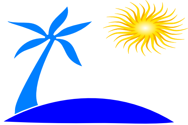 600x398 Blue Palm Tree Beach Wsun Clip Art