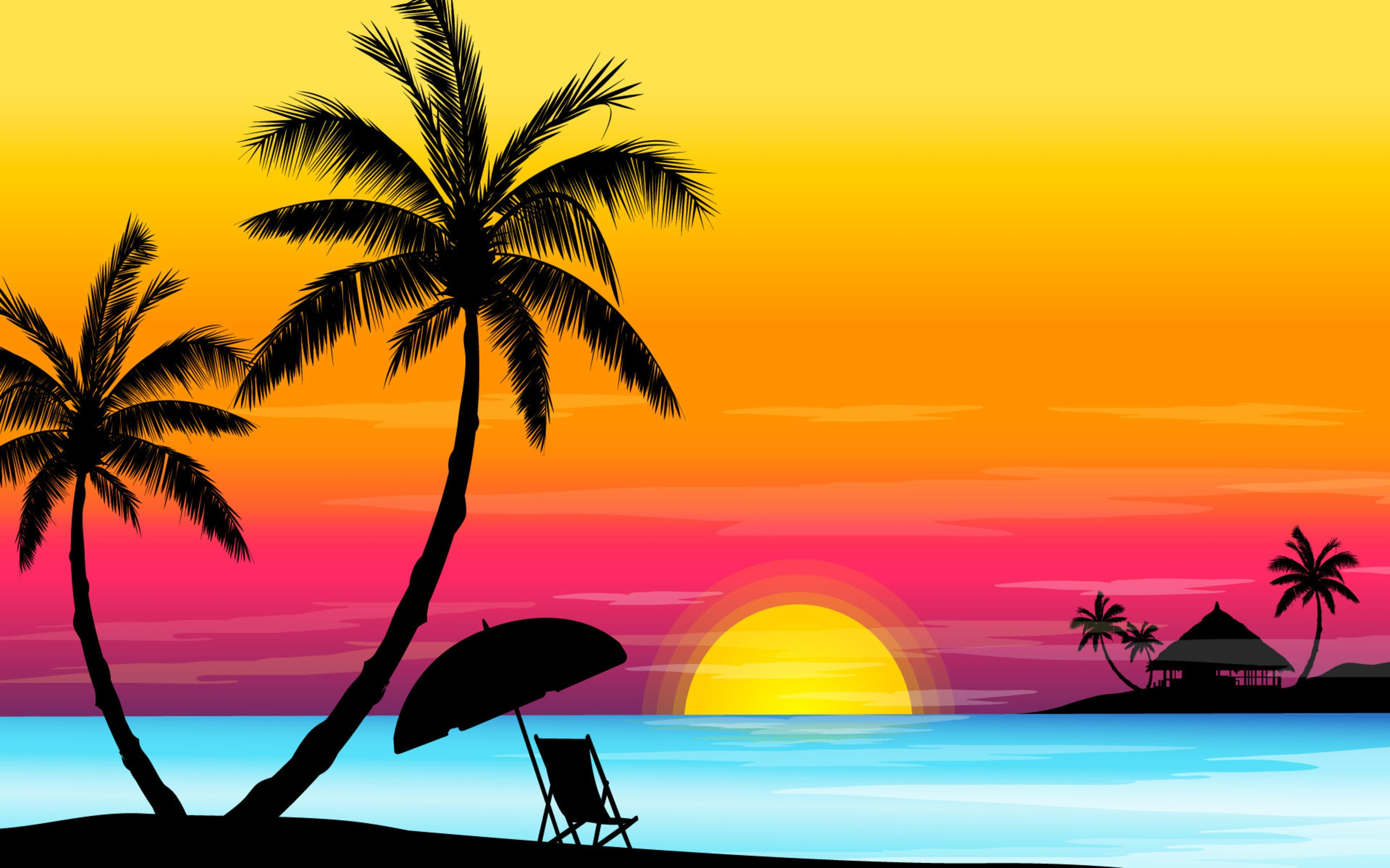 2880x1800 Pictures Sunset Beach Art,