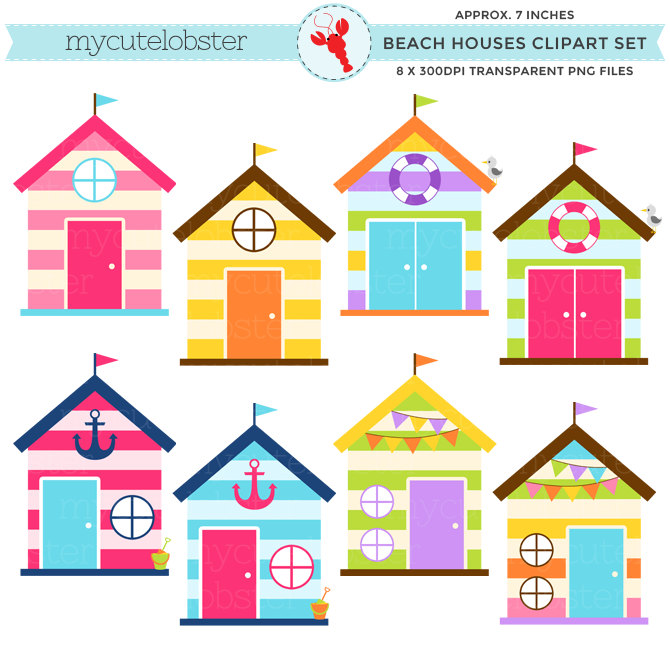 670x670 Beach Houses Clipart Set