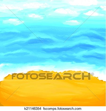 450x470 Clipart Of Beach, Sea, Sand. Summer Background. K21146354