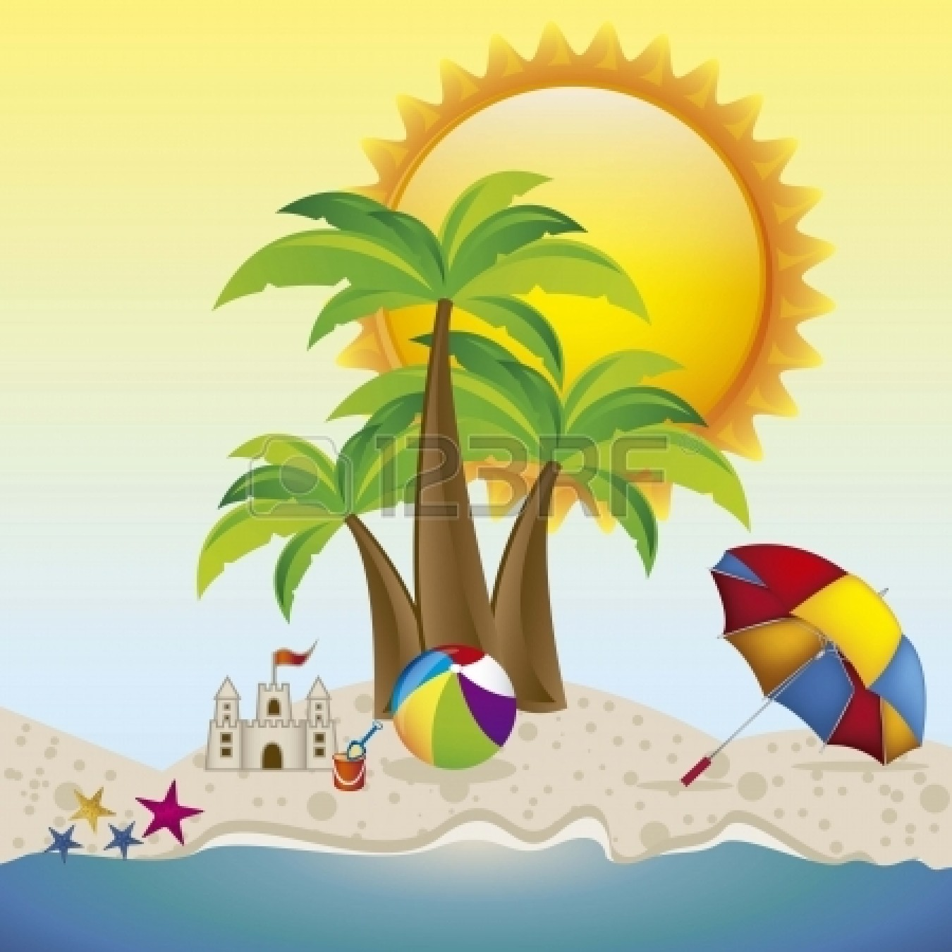 1350x1350 Vacation Clipart Beach Background