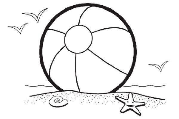 600x400 Beach black and white beach ball beach scene clip art coloring