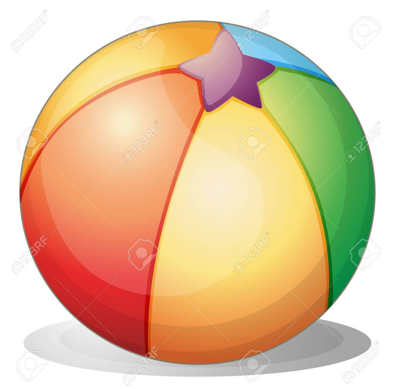 1300x1285 Illustration Of A Beach Ball On A White Background Royalty Free