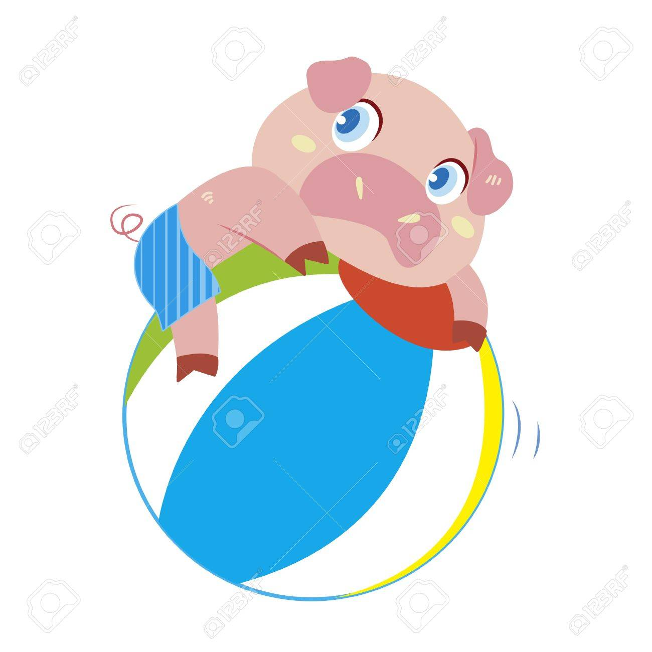 1300x1300 A Cute Pig Plays A Beach Ball Royalty Free Cliparts, Vectors,
