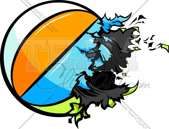 590x452 Exploding Beach Ball Vector Clipart Image