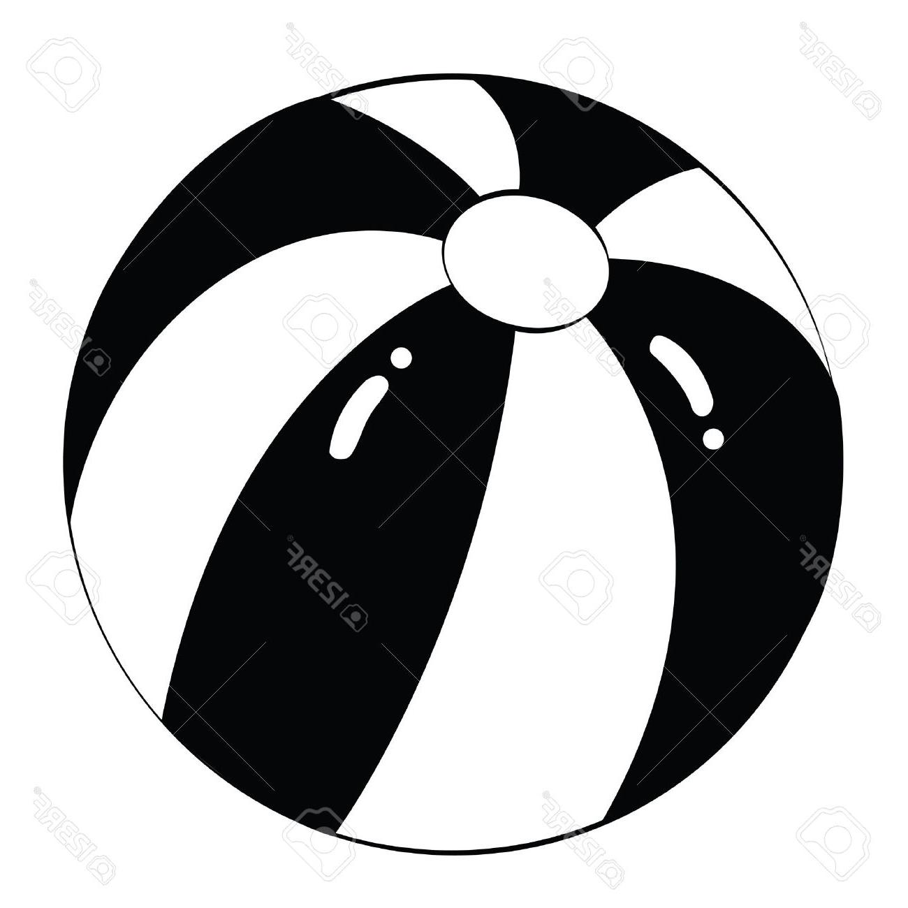 1300x1300 Top Black Outline Vector Beach Ball On White Background Stock Images