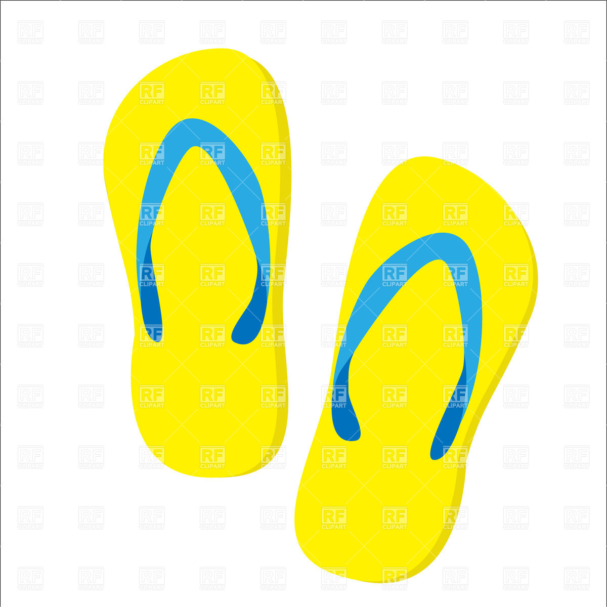 1200x1200 Yellow Beach Slippers Isolated Royalty Free Vector Clip Art Image