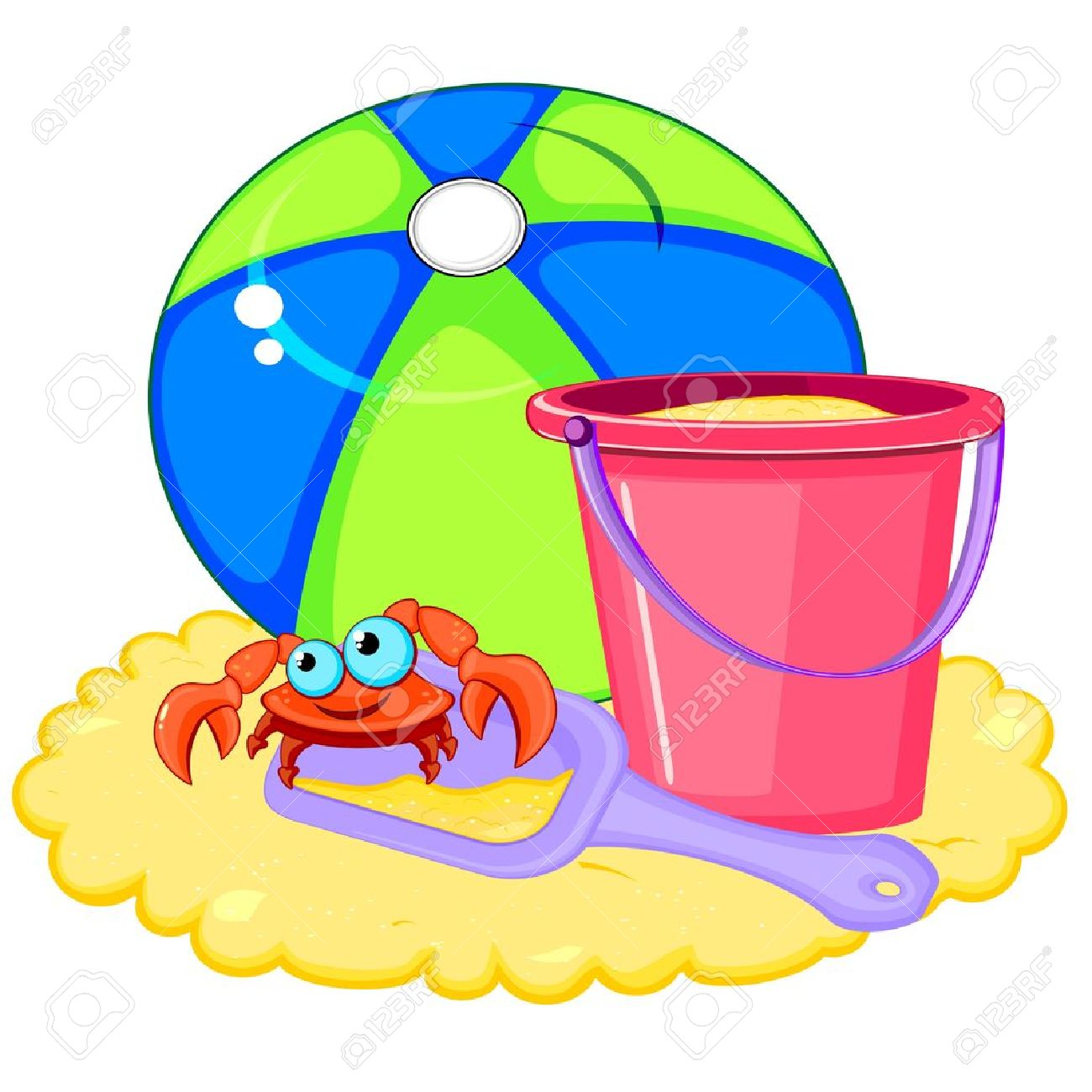 1300x1300 Bright Beach Ball And Pink Bucket With Shovel And Crab On Sand