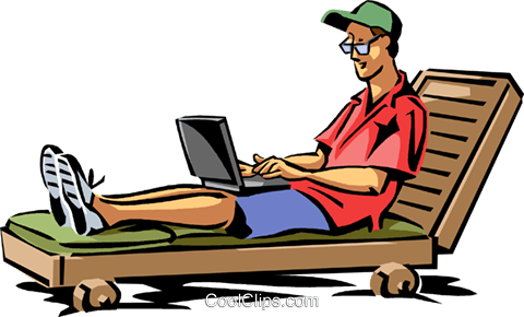 480x290 Man Relaxing In Beach Chair Royalty Free Vector Clip Art