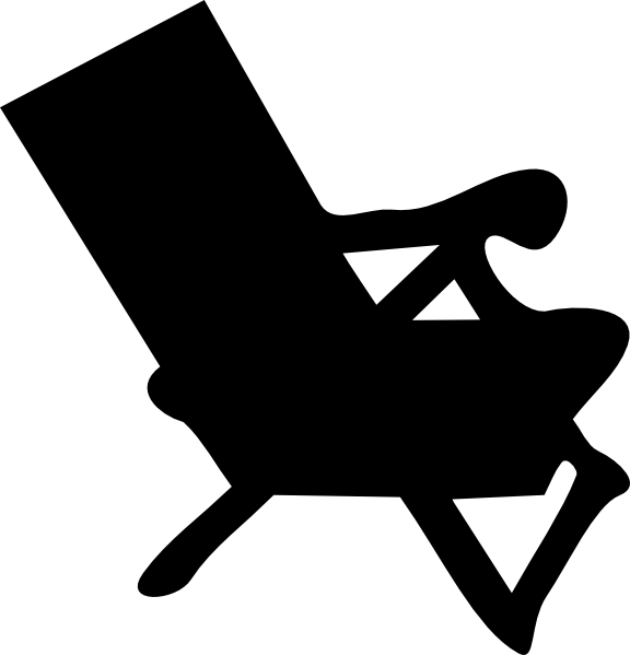 576x599 Beach Chair Silhouette Clip Art