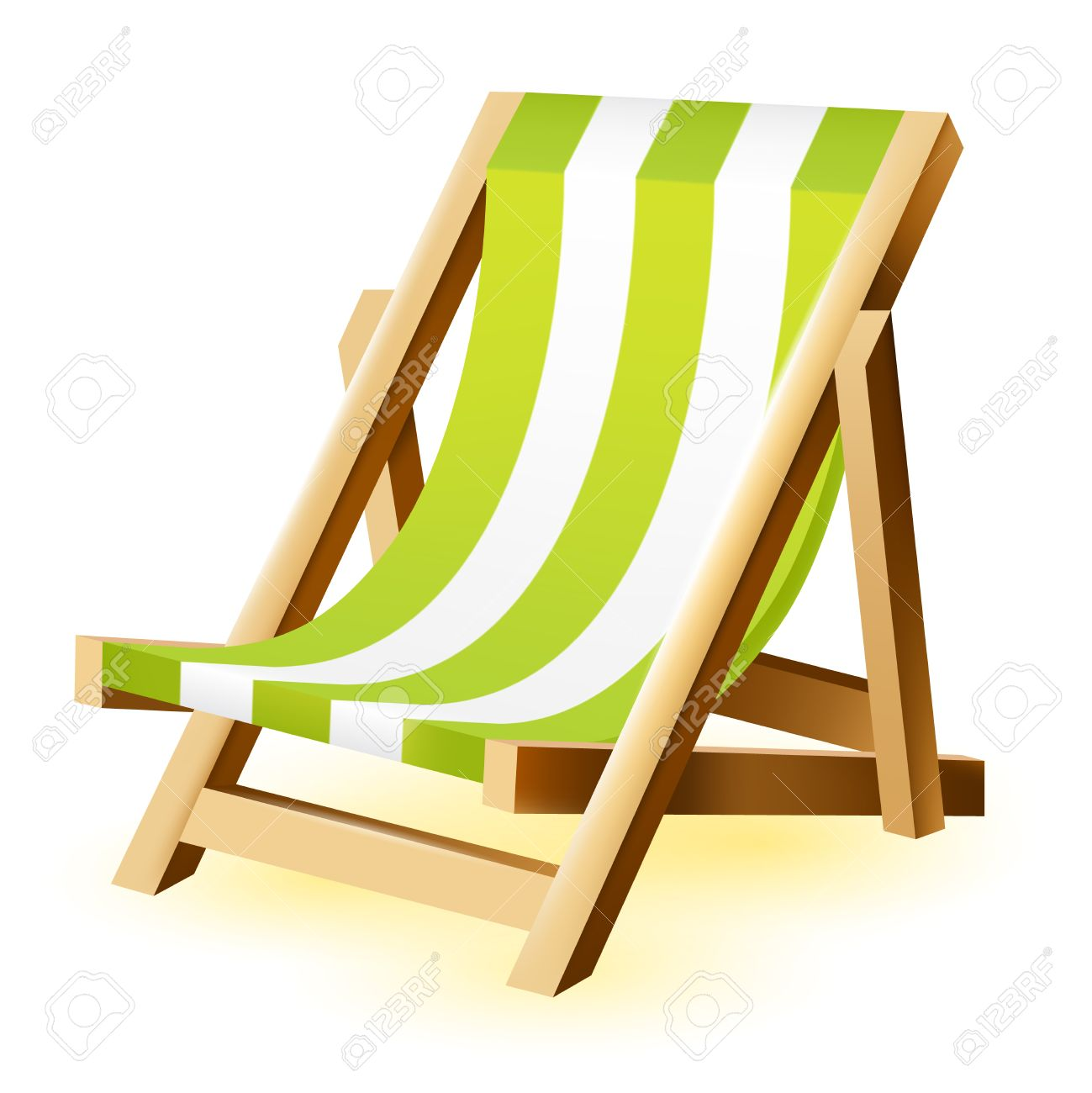 1299x1300 Isolated Vector Beach Chair On A White Background Royalty Free