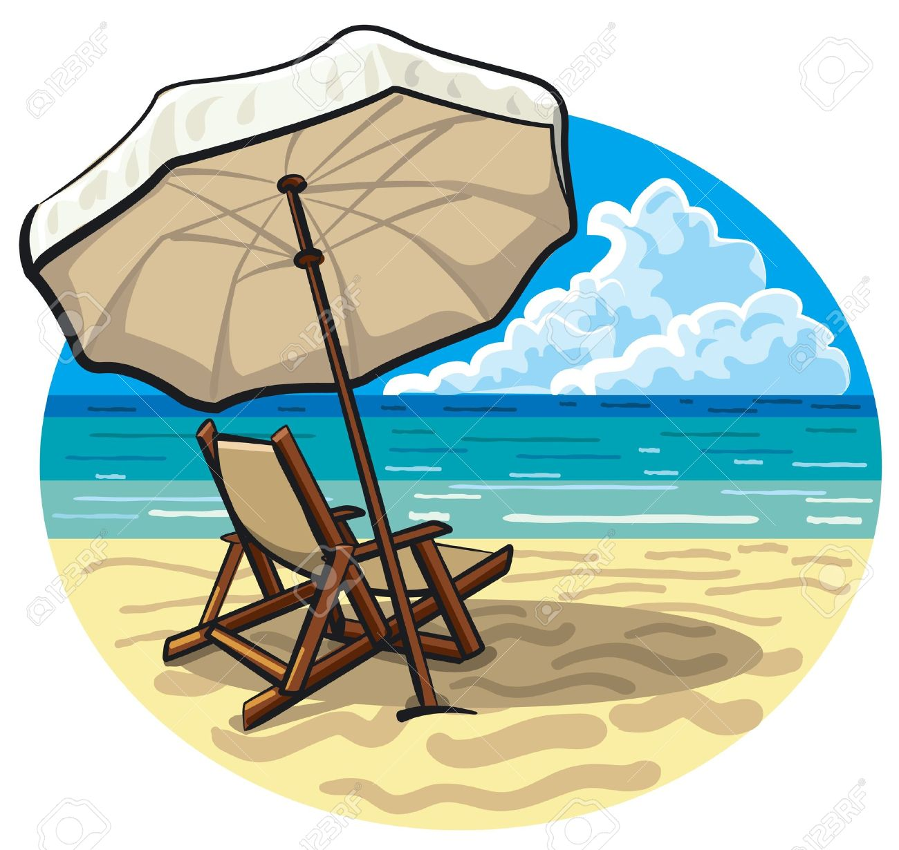 1300x1230 Beach Chair And Umbrella Royalty Free Cliparts, Vectors, And Stock